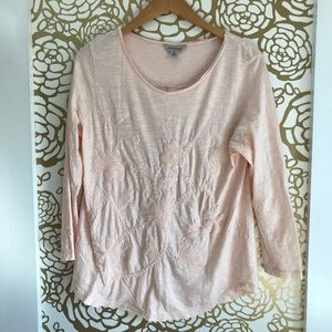 Lucky Brand Distressed Pink Embroidered Top